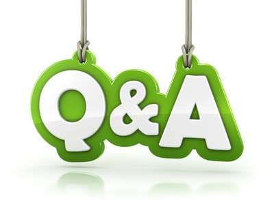 Questions and Answers Q&A green word text isolated on white background with clipping path