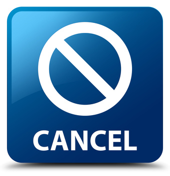 Cancel (prohibition sign icon) isolated on blue square button abstract illustration