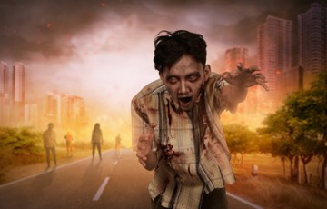 Crowd of creepy asian zombies with angry face walking on the burning city