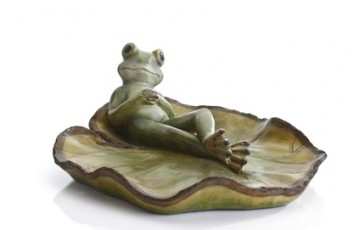 Decor, frog laying back on lotus leaf