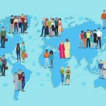 Vector illustration of social and demographic world map on blue background.