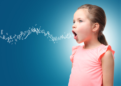 Little girl and letters on color background. Speech therapy concept