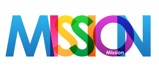 MISSION colourful vector letters icon