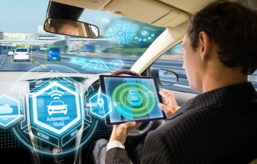 Futuristic interface of autonomous car. Self driving vehicle. Driverless car.
