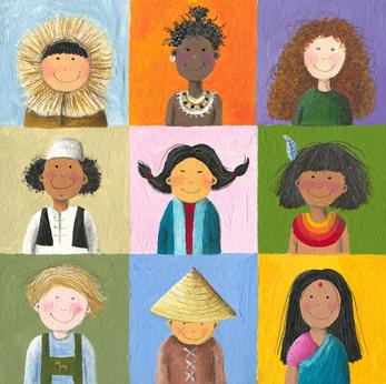 Acrylic illustration of children of the world