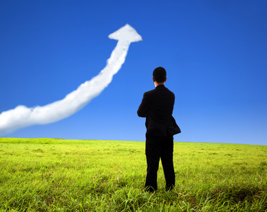 business man stand on the field and watch growth graph cloud